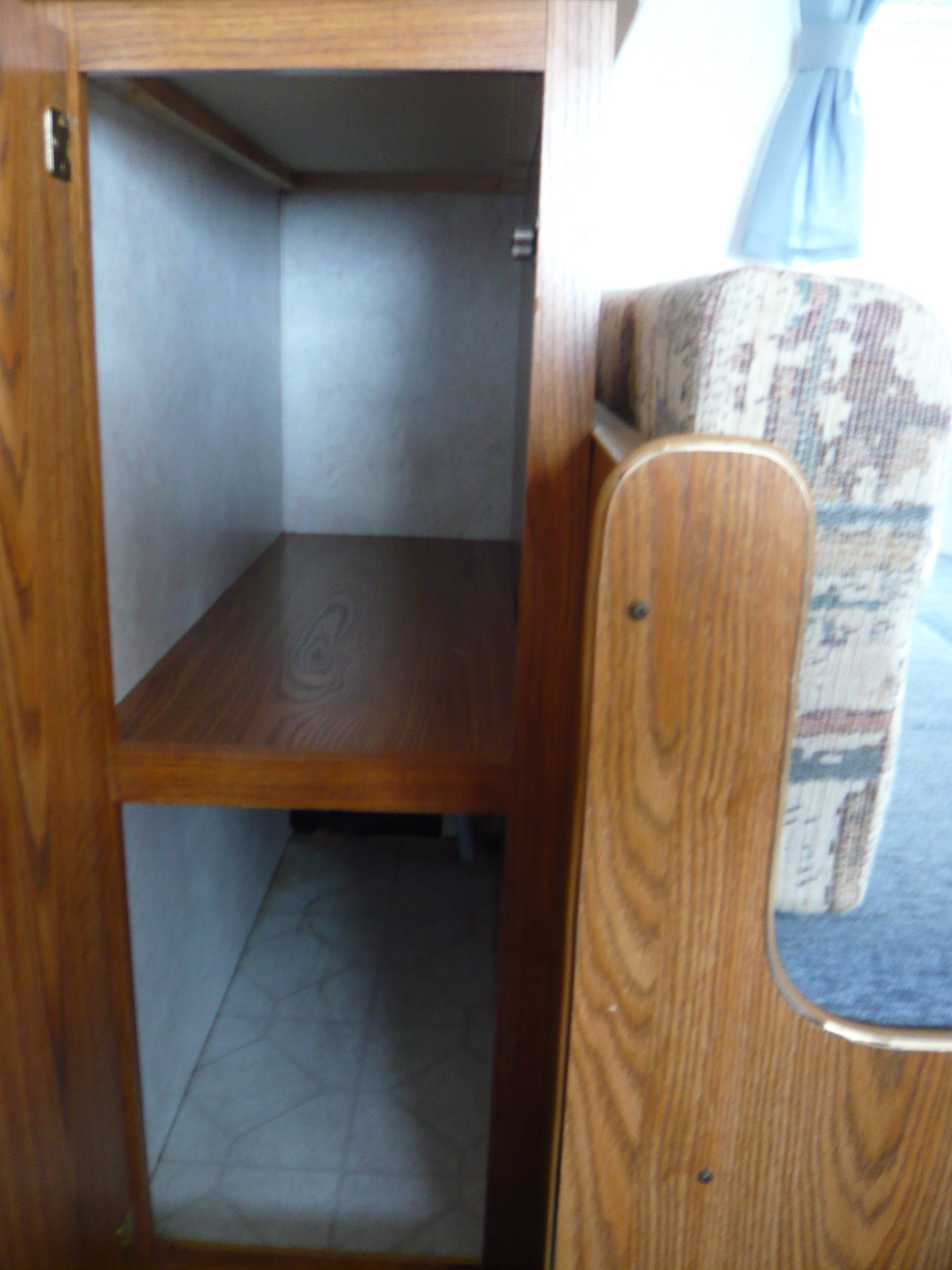 We have a pantry behind one of the dinette seats.