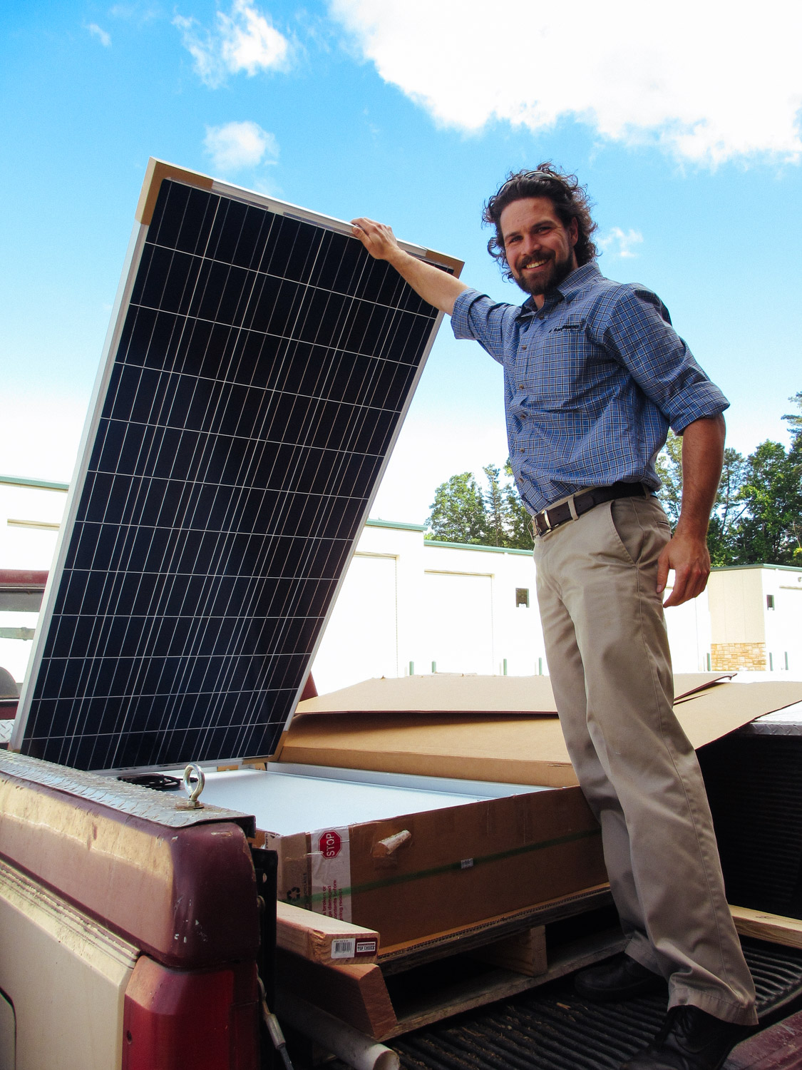 Taking delivery of our solar panels.
