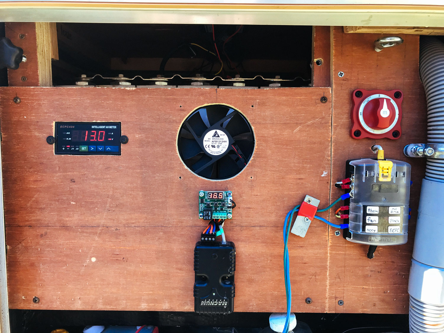 """This is the first edition of our """"BMS panel"""" (battery management system), mounted on plywood from the battery shipping crate!"""