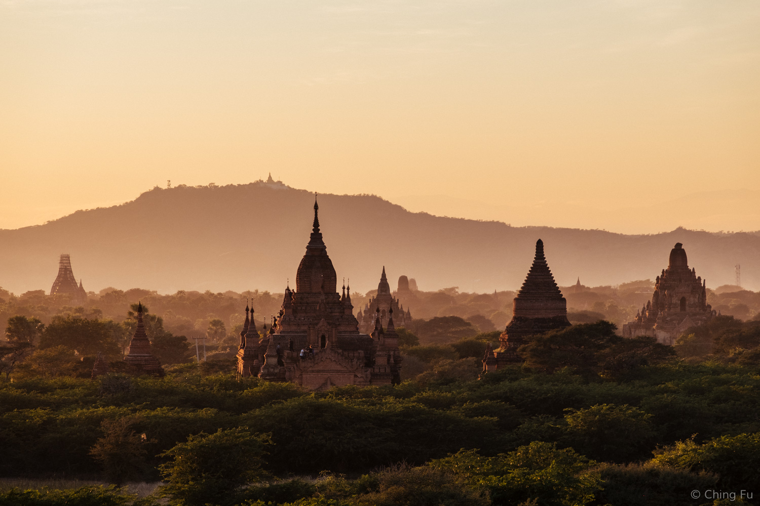 Sunset over Bagan temples.