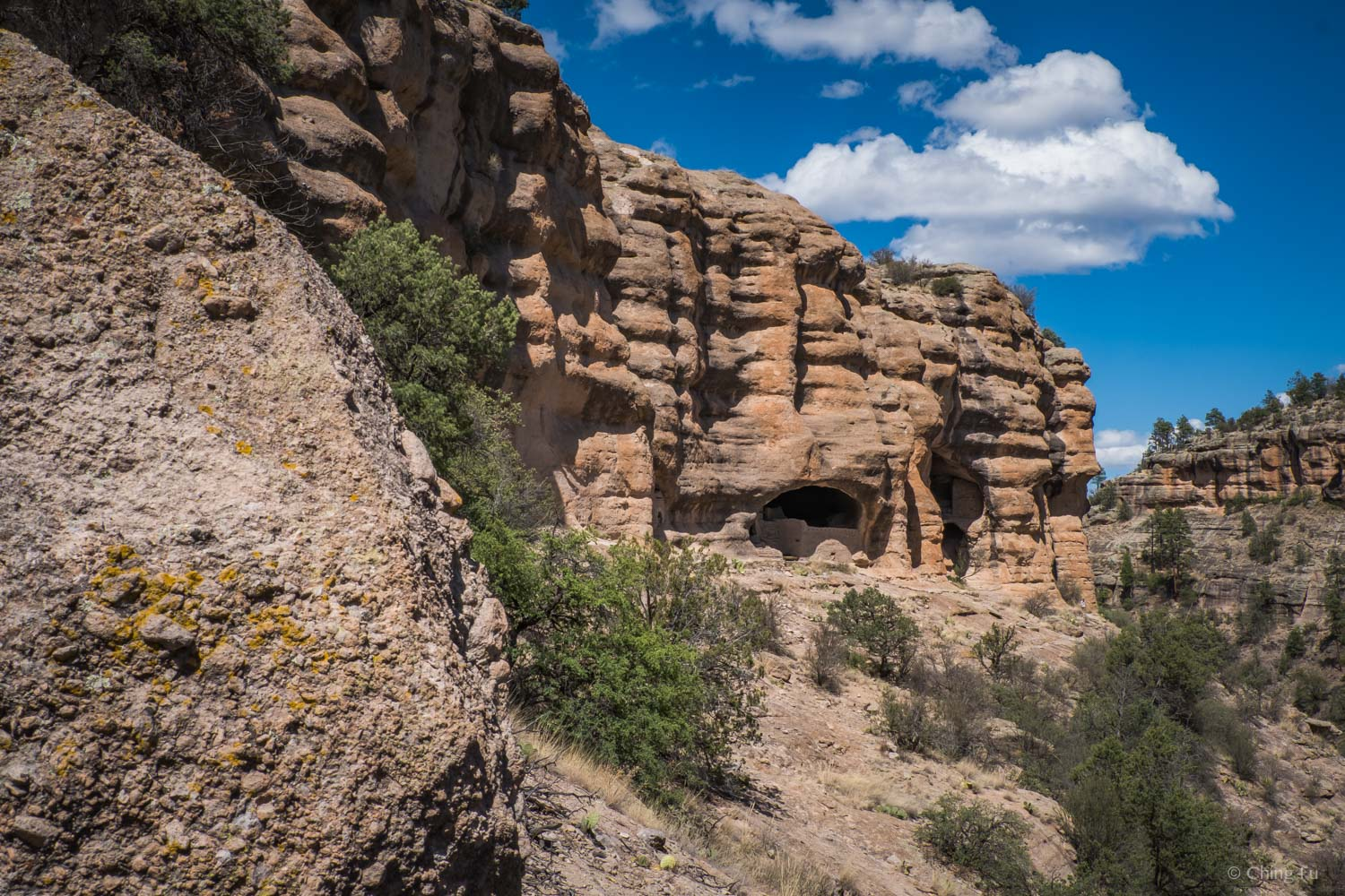 Glimpse of the cliff dwellings as we hiked up.