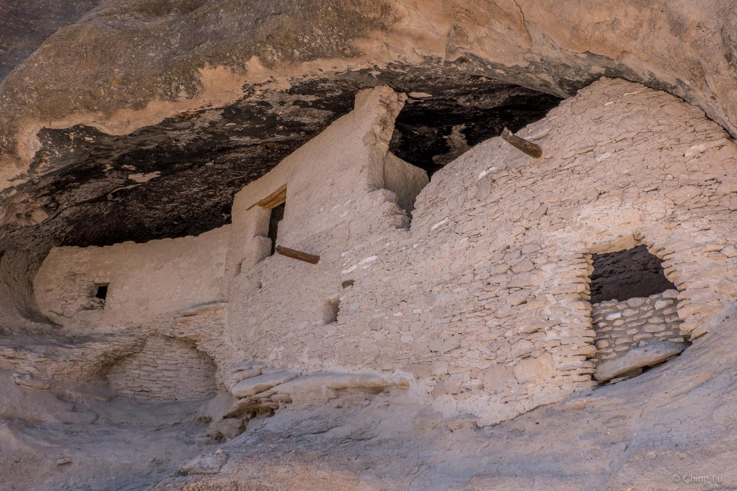Close-up of one of the cliff dwellings.