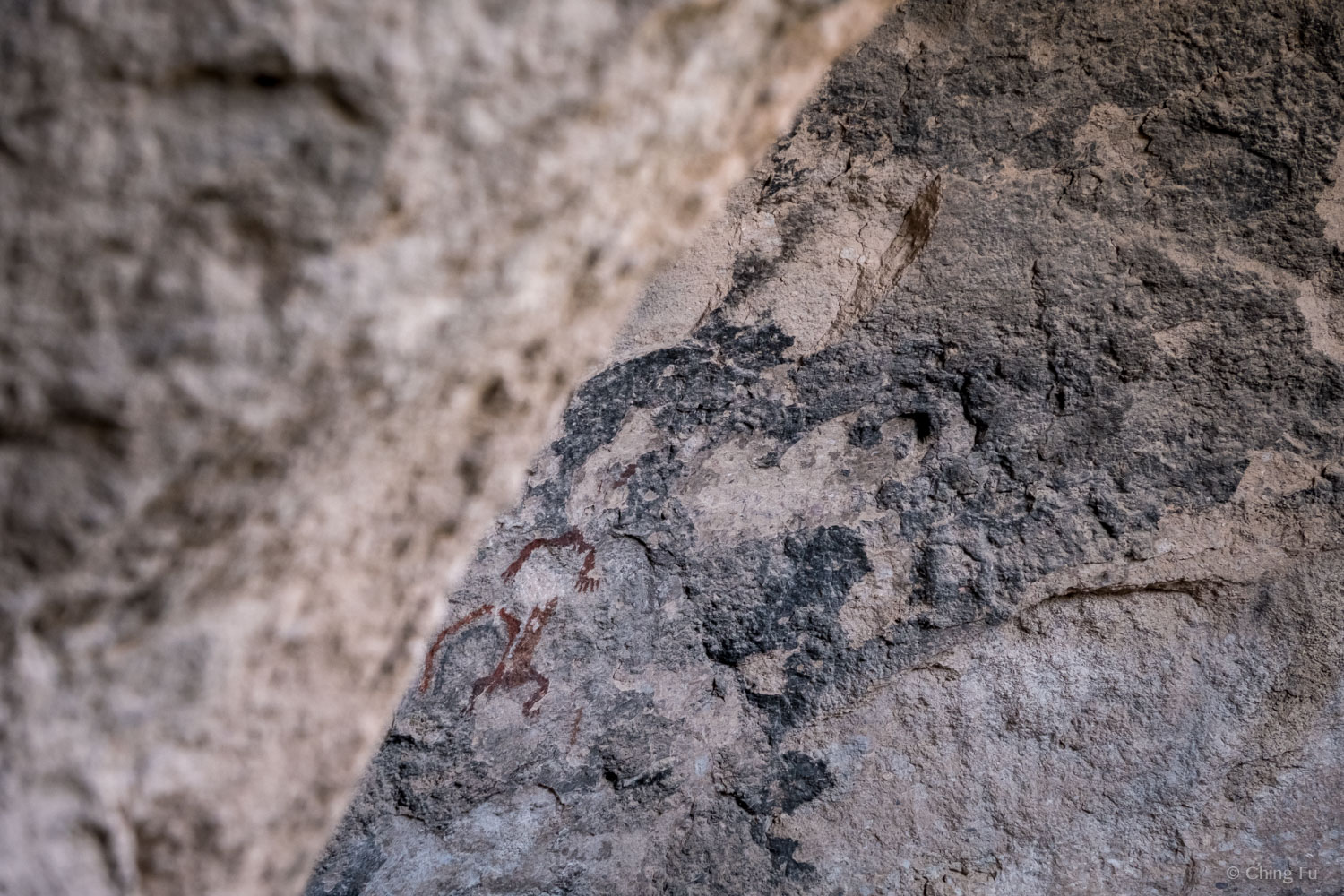 Pictographs are drawn onto the upper walls of the caves.