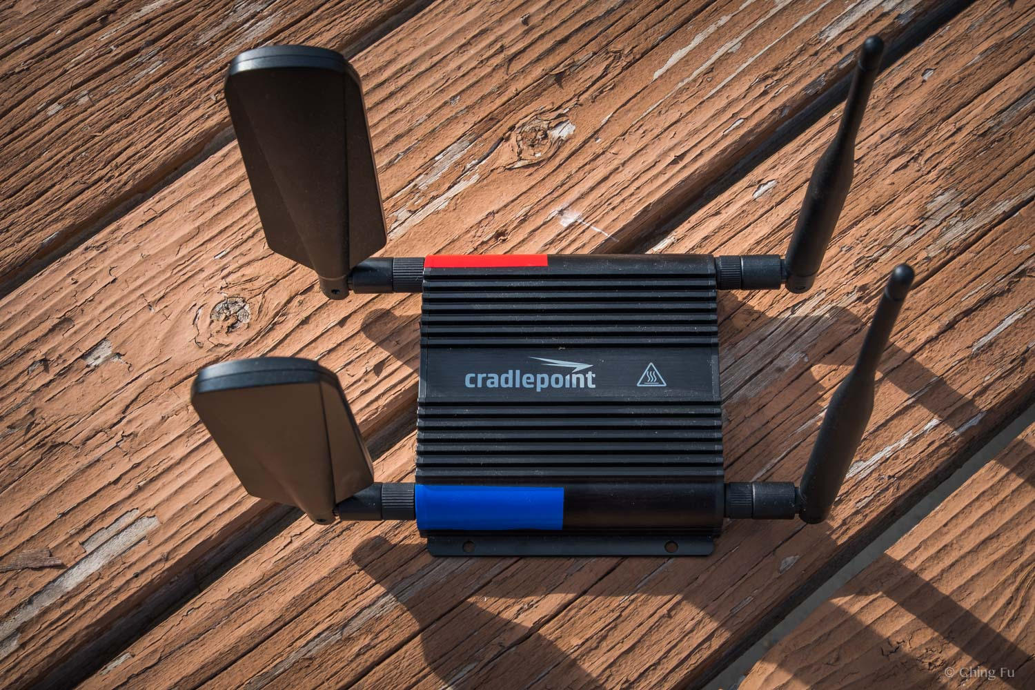 This Cradlepoint router is actually smaller than the MOFI router. We placed the red and blue tape to remind us where the coax cables need to go. The Cradlepoint also comes with paddle antennas.