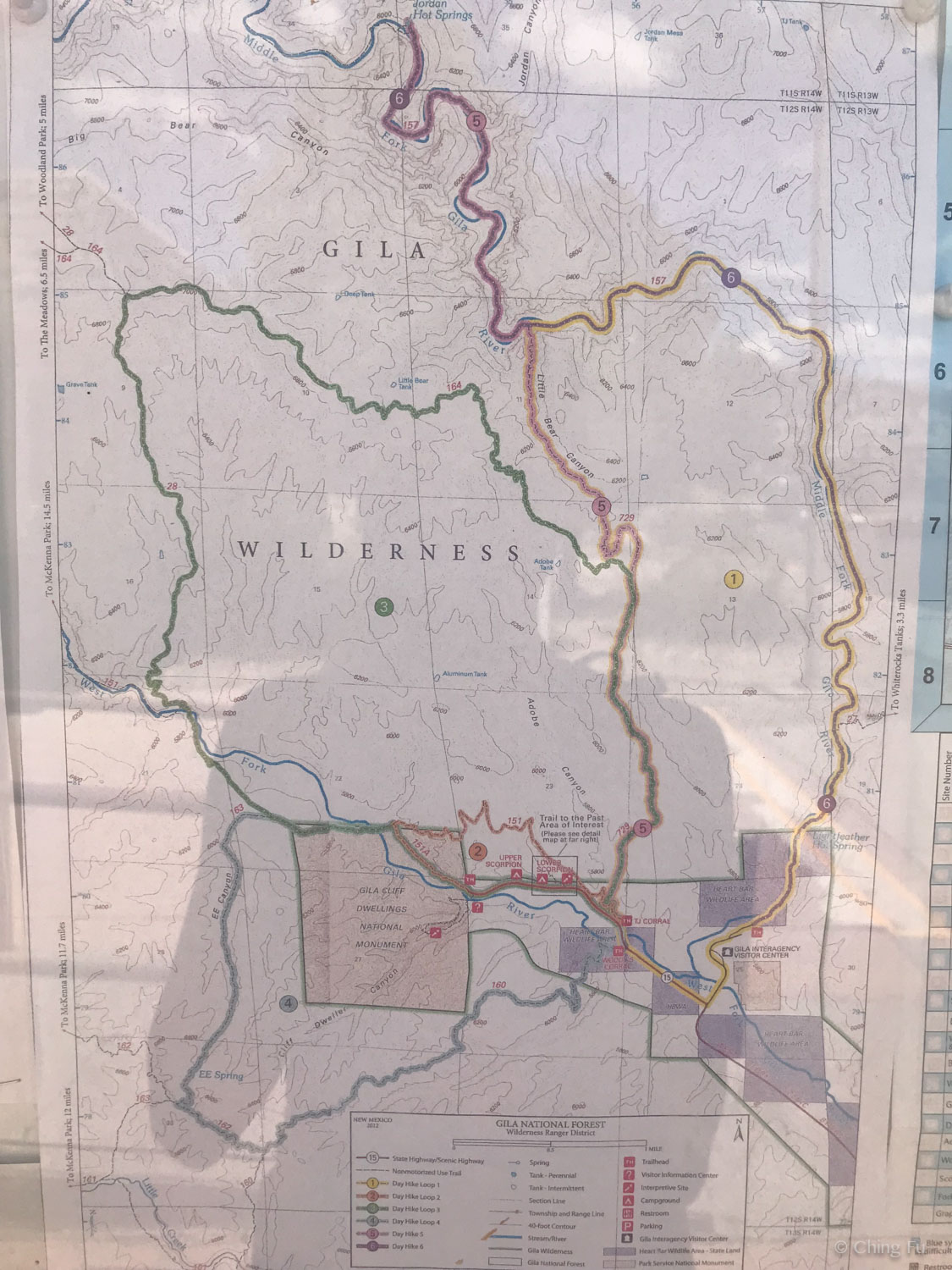Map of hikes in Gila National Forest and Wilderness.