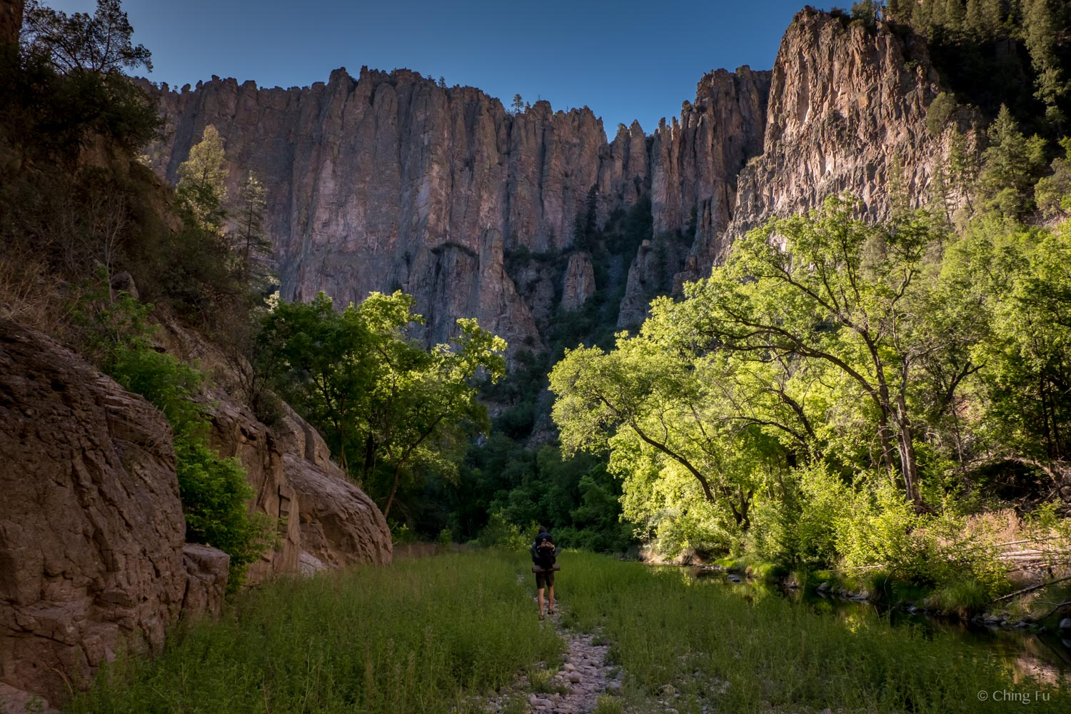 Backpacking out of Gila River Canyon the next morning.