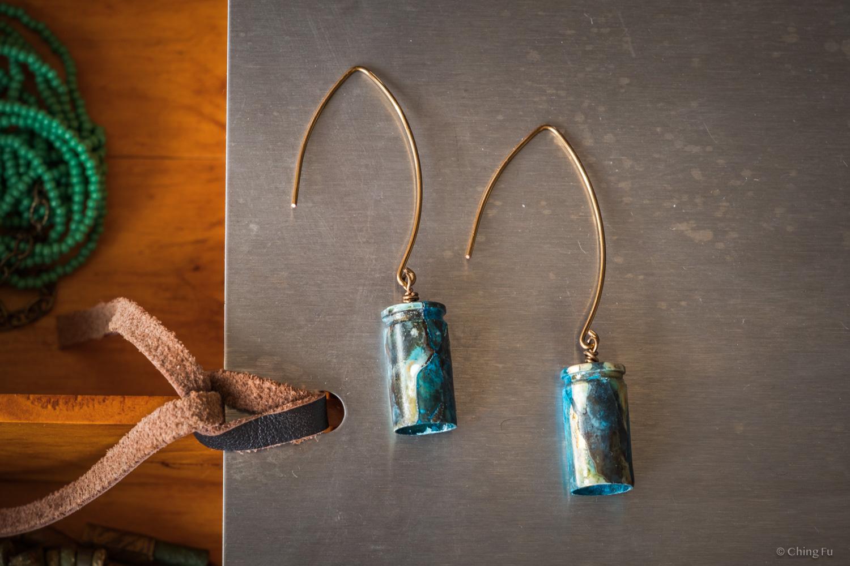 Salvaged bullet casing earrings - Viridian Range