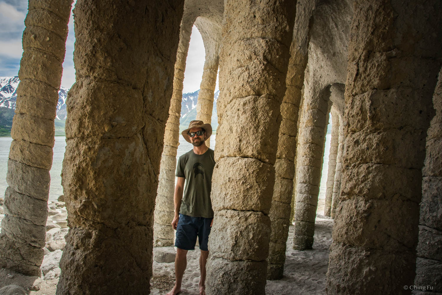 Jerud standing inside a bunch of columns.
