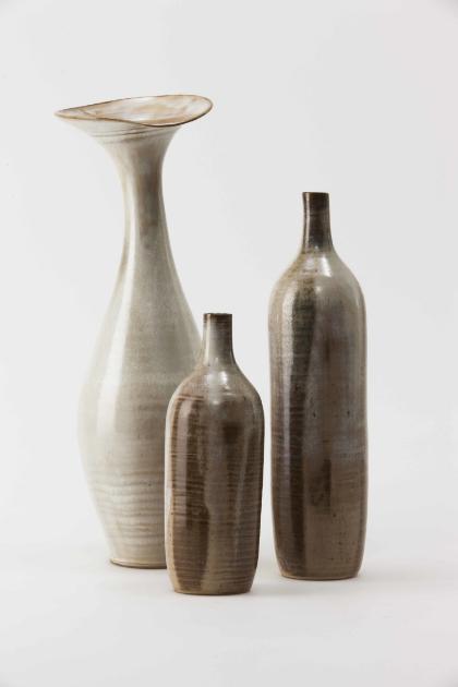Jang Jin    Still Life 14-021, 14-023, 14-026    Ceramic   14.5W x 135.D x 36H cm/5.7W x 5.3D x 14.2H inch, Ø 8.5 x33H cm /Ø3.3 x 13H inch,Ø8 x 23H cm/Ø3.1 x 9.1H inch