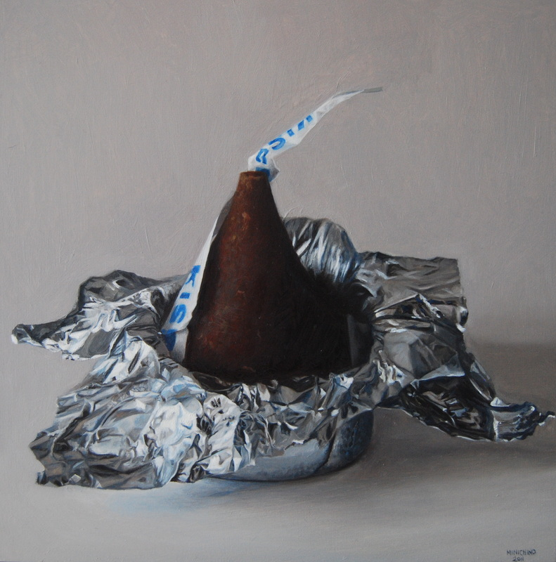 Gina Minichino,Kiss, 2011, Oil on panel, 9.75 x 9.75 inches