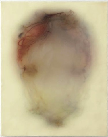 In the Body of the World, 2013, silk and encaustic on panel, 30 x 24 inches