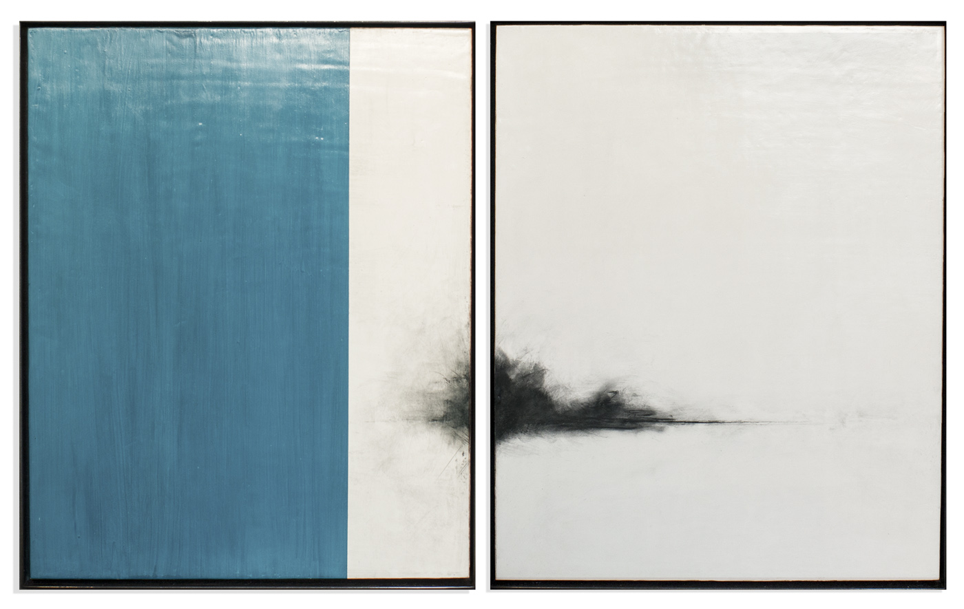 Untitled (Blue Diptych), 2015, mixed media on panel, 20 x 32 inches