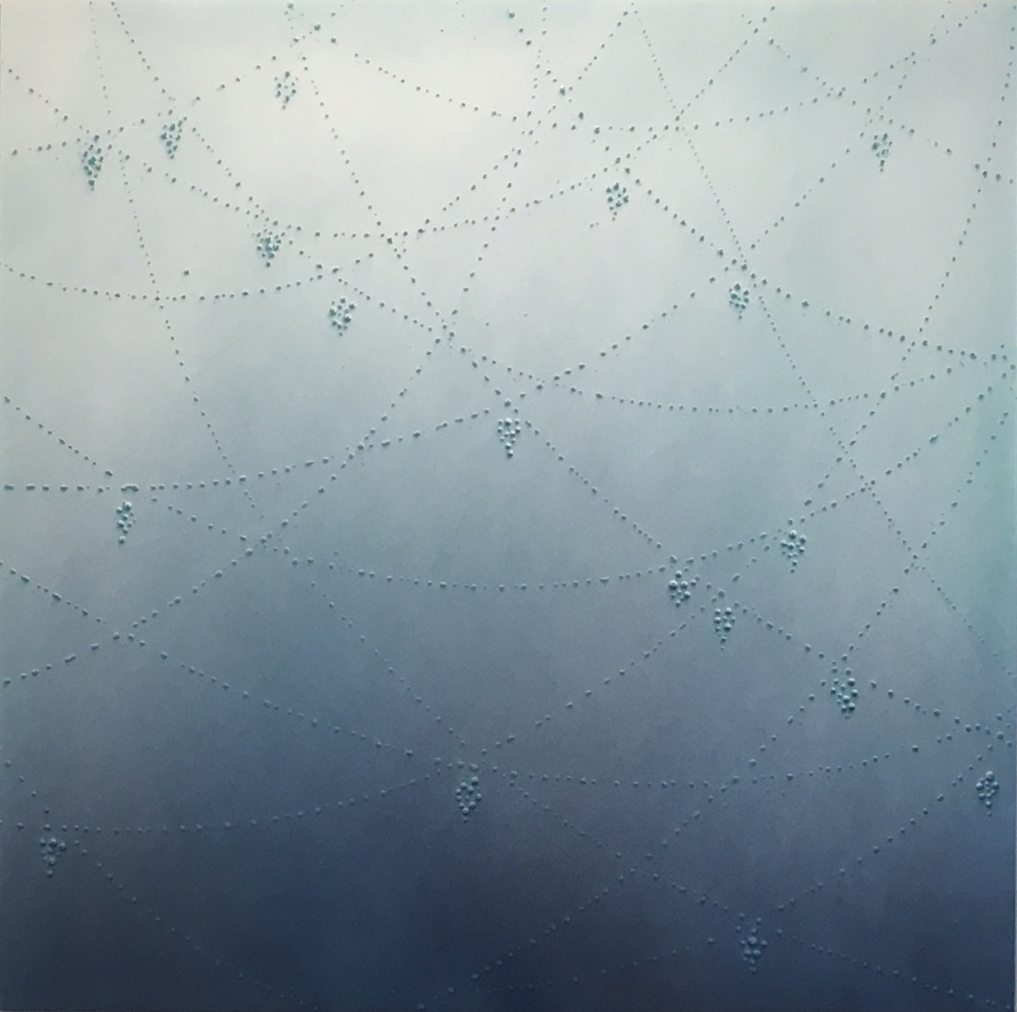 After the Rain, 2016, enamel on acrylic panel, 34 x 34 inches