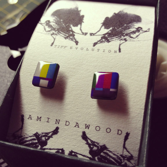TIFF:Evolution colour bar earrings by Aminda Wood