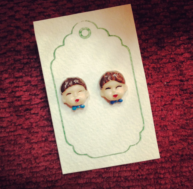 The cutest little stud earring faces! LOVE these!!