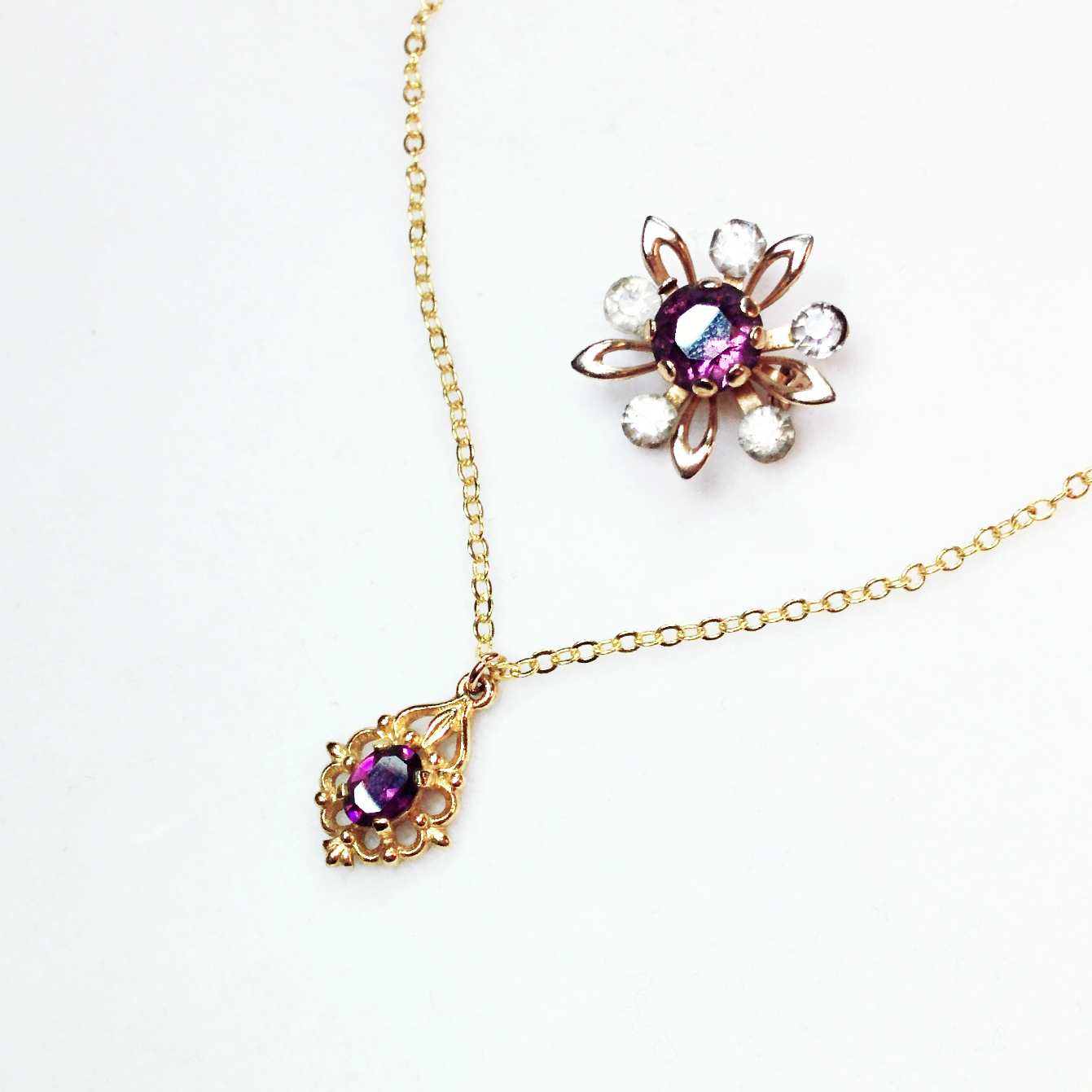 New colourful springtime treasures - vintage rhinestone brooch and recycled vintage piece made into a collar length necklace
