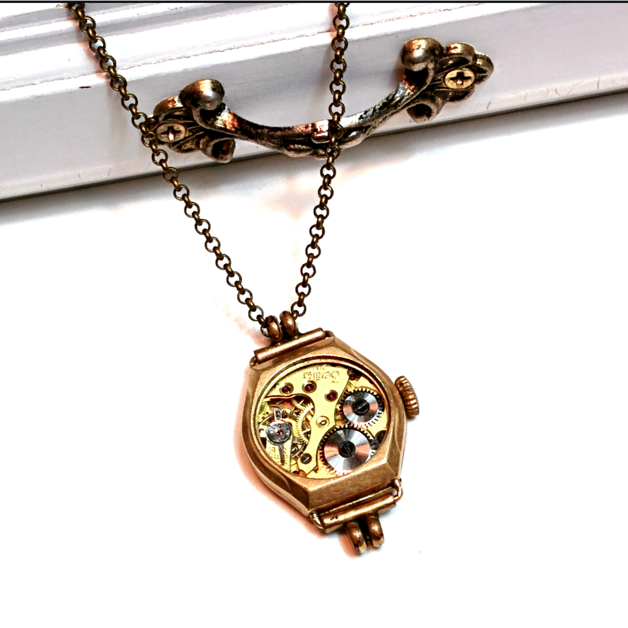 Gold filled vintage watch case and movement pendant
