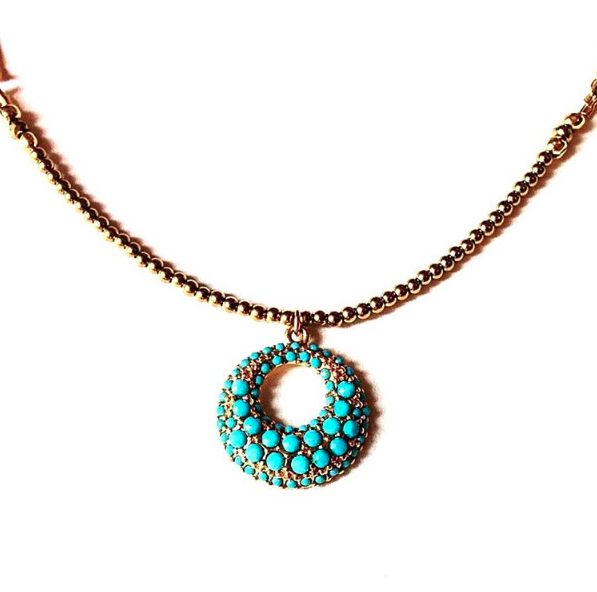 New to my hematite collection, this vintage piece featuring a crescent of tiny faux turquoise stones.