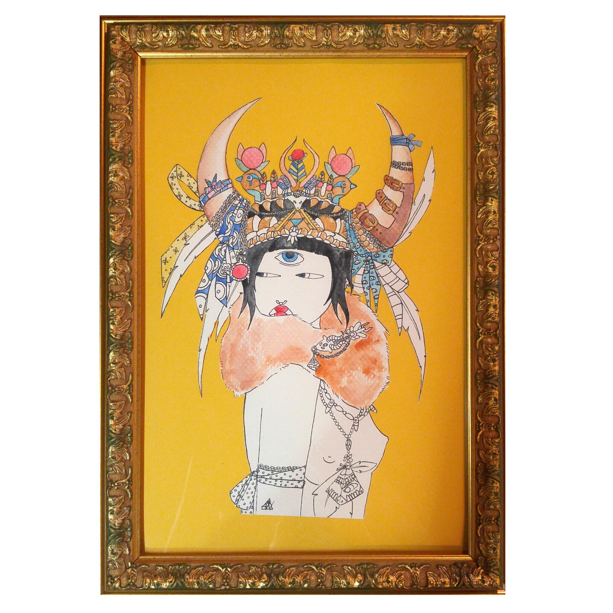 Original illustration of a Mystic in detailed vintage floral frame.