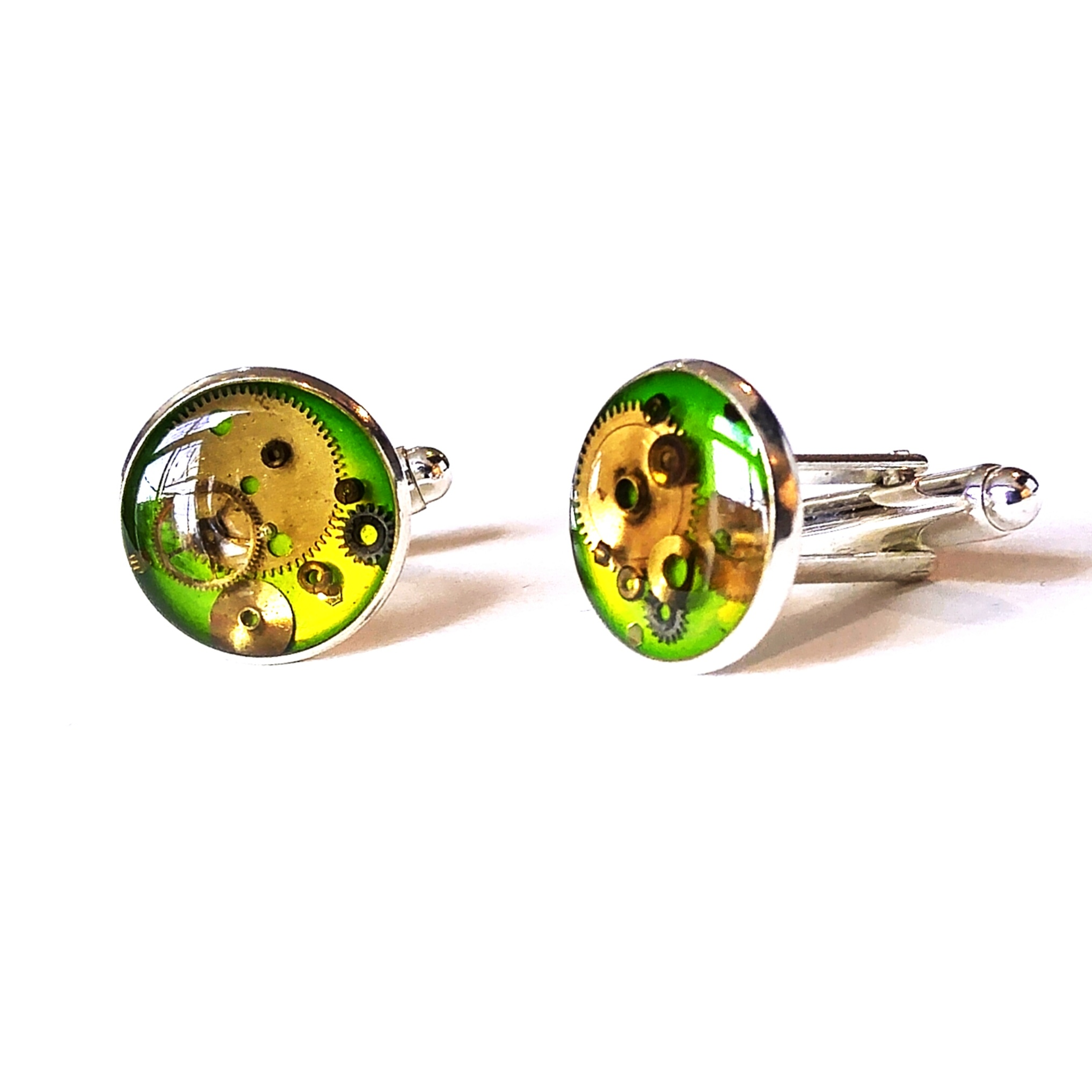 Lime green watch part cufflinks