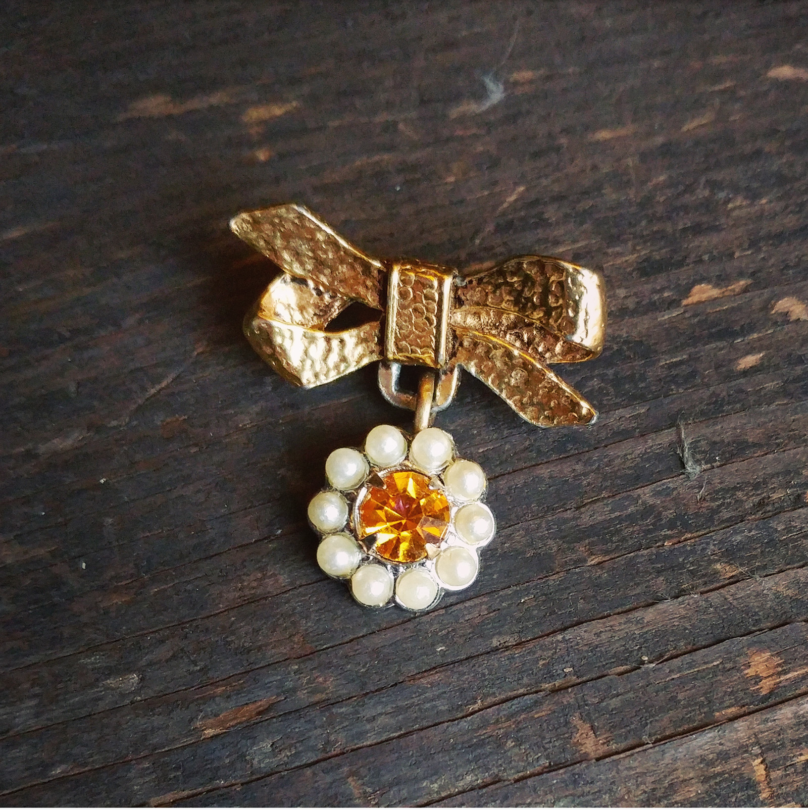 Vintage components re-designed into one adorable brooch
