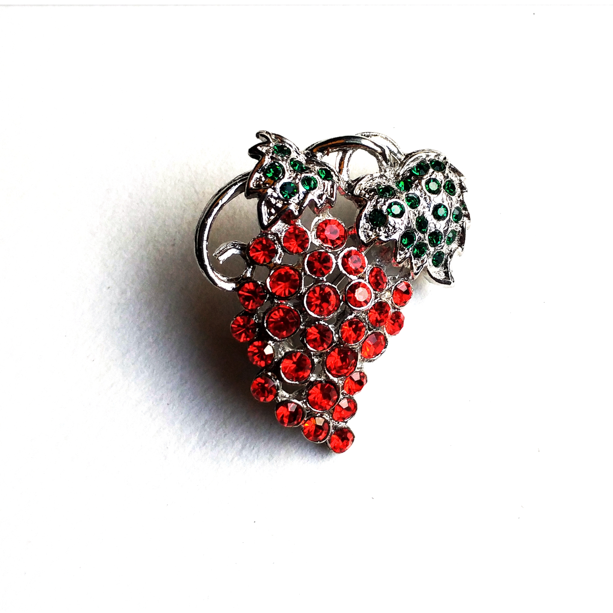 rhinestone strawberry brooch