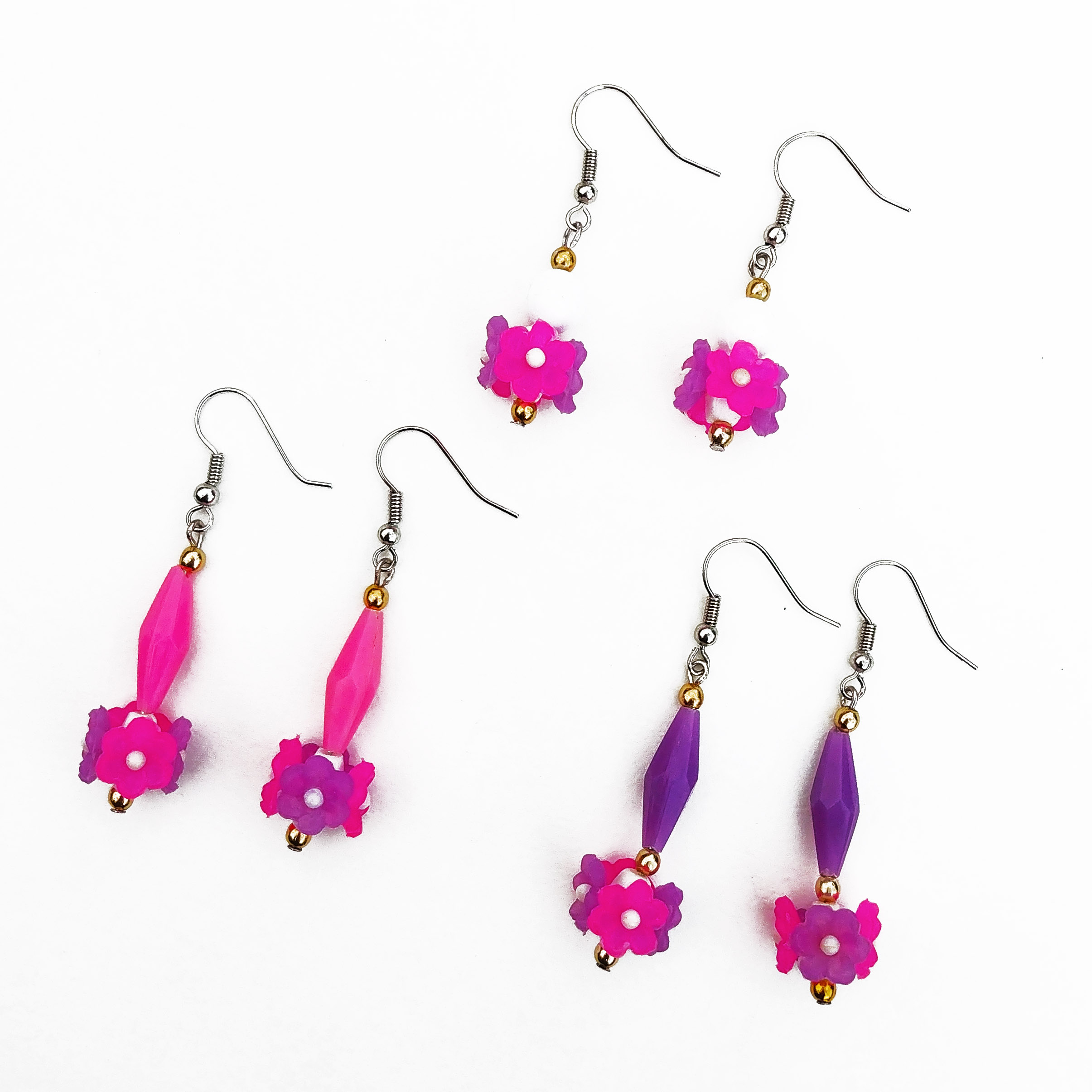 Bright colored earrings made from 1960's beads! Available only at the Leslieville Arts Market!