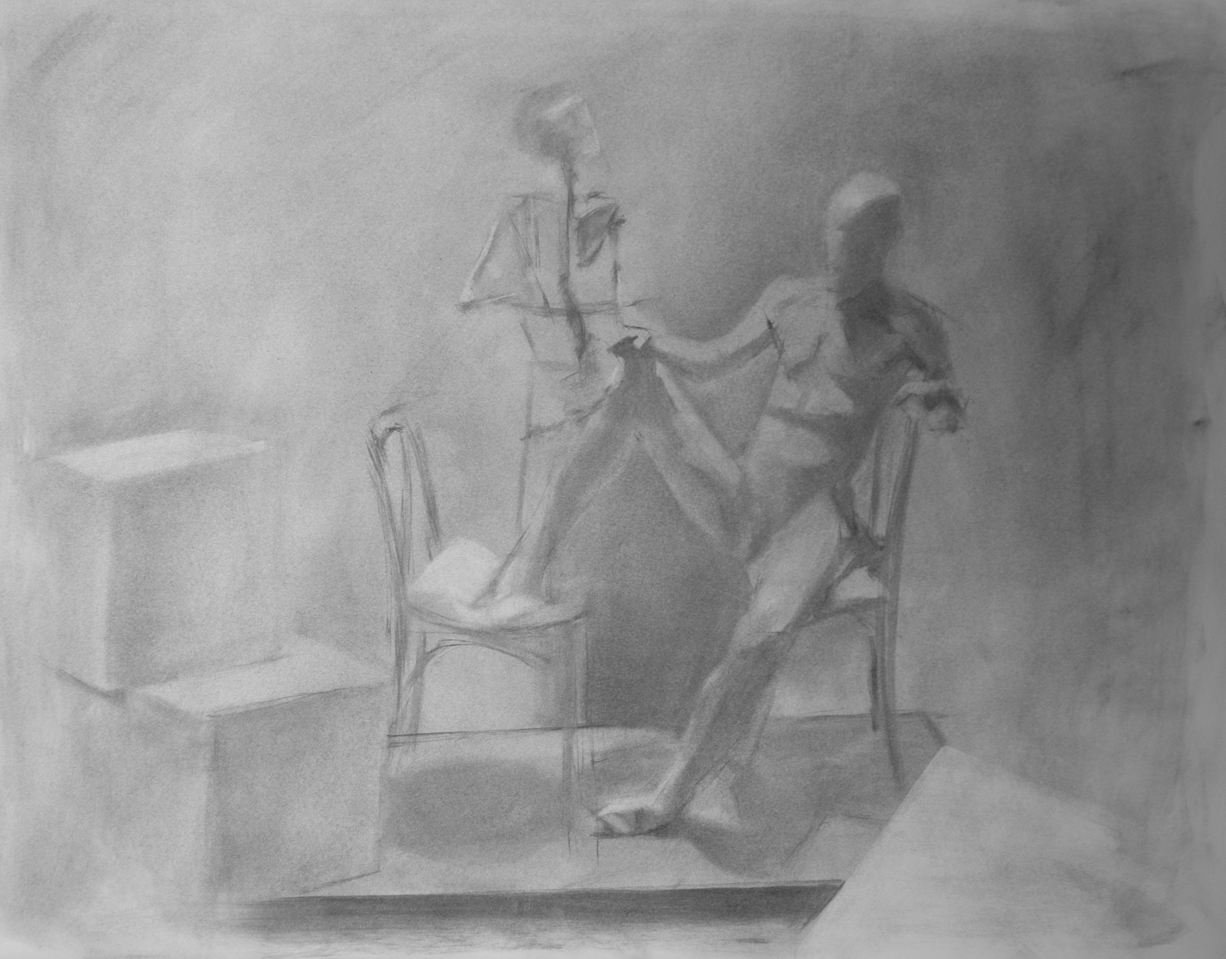 figure drawing, 2013 | vine charcoal, 24 x 18 in