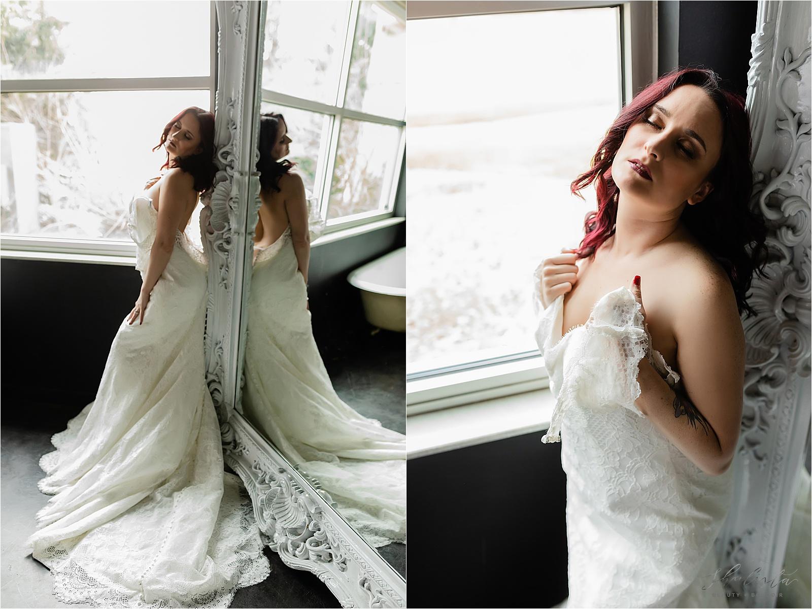 Wedding Dress in Mirror Boudoir