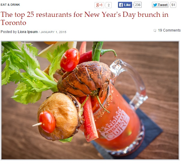 The top 25 restaurants for New Year's Day brunch in Toronto