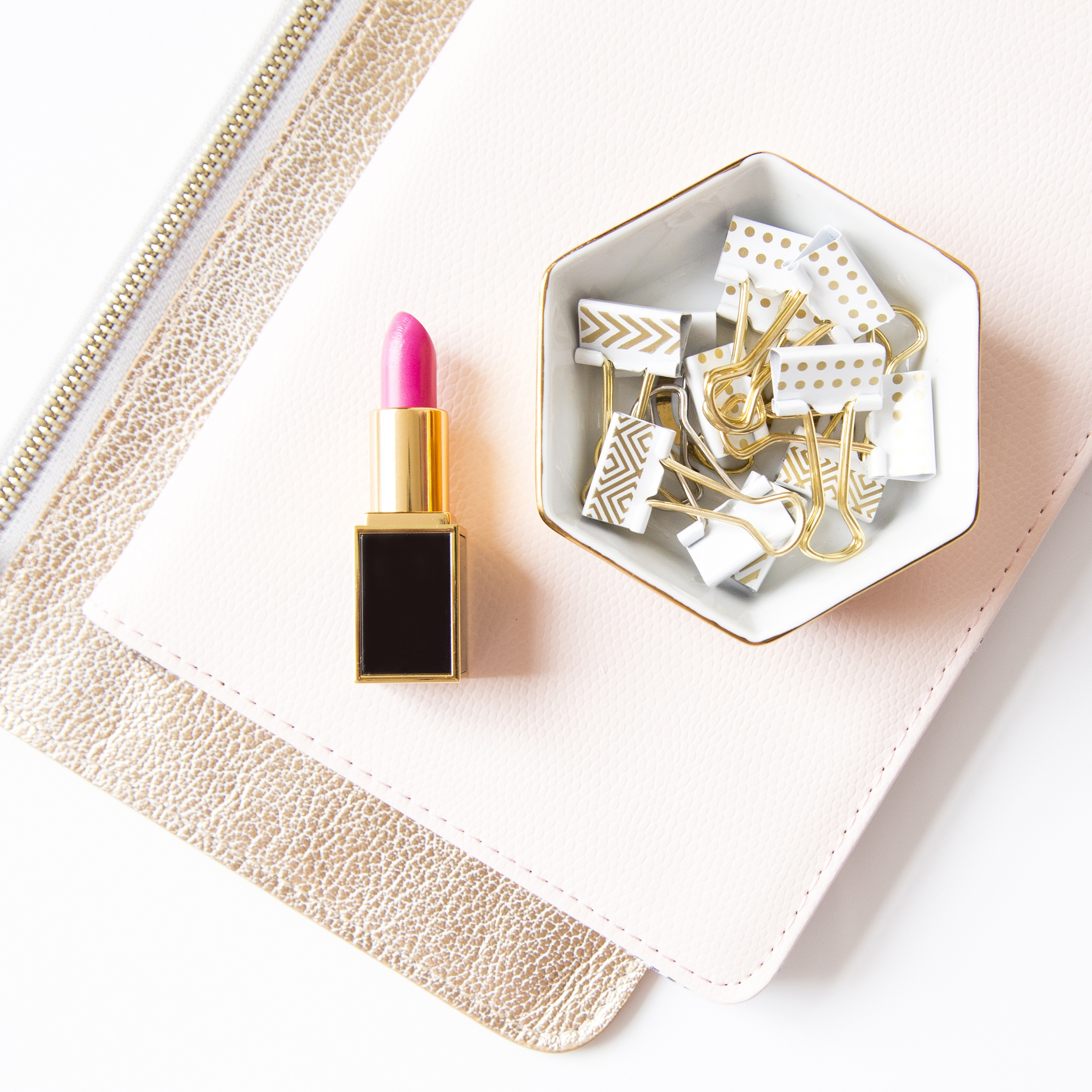 pink lipstick and gold clips.jpg