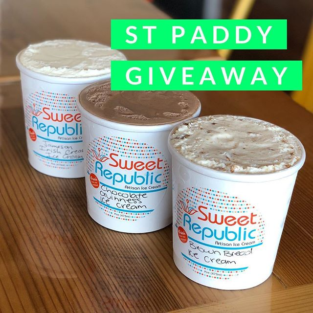 🍀GIVEAWAY🍀 What better way to celebrate St Patrick's Day this Sunday than with ice cream? We're giving away 3 pints of these special limited flavors: 🍞 Brown Bread 🍫🍺 Chocolate Guinness 🍸 Jameson Irish Cream Here's how to enter: 1) Follow @sweetrepublic 2) Like this post 3) Tag someone who loves ice cream in the comment section below 4) Tag multiple friends for multiple entries in separate comments Repost in your stories for extra entries. Giveaway is now through tomorrow Sat 5pm. Winner will be announced shortly after. Pints can be picked up at either location on Sun 3/17.