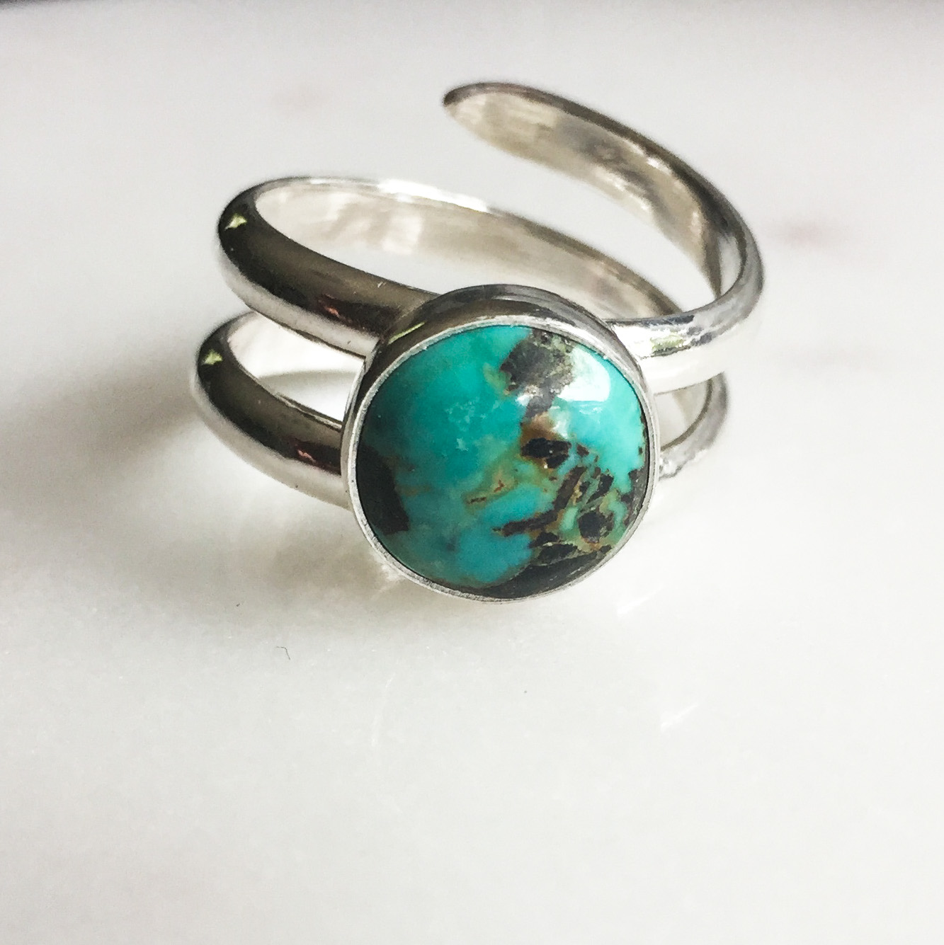 Natural Turquoise Spiral Ring