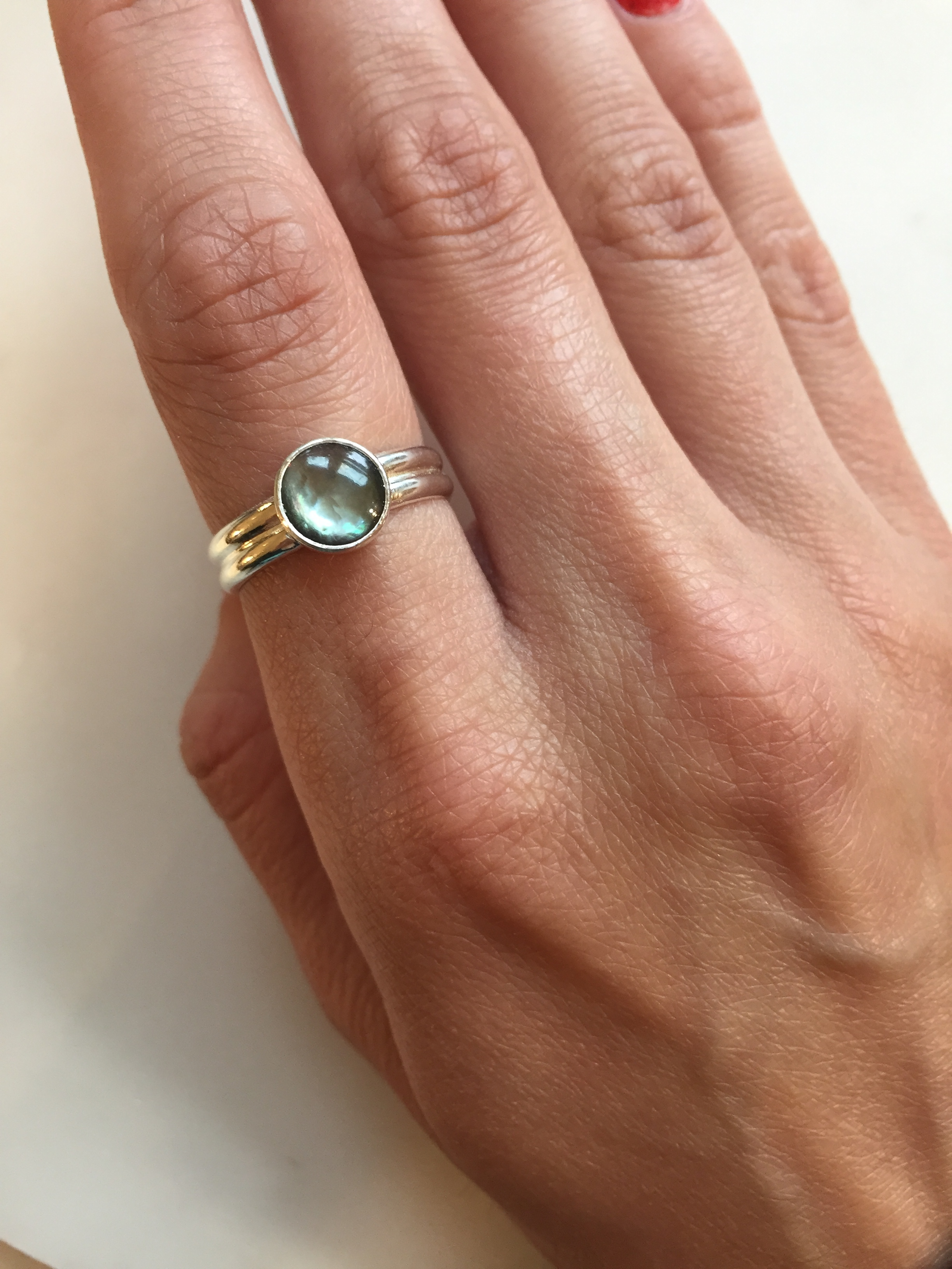 Dark Mother of Pearl Engagement Ring
