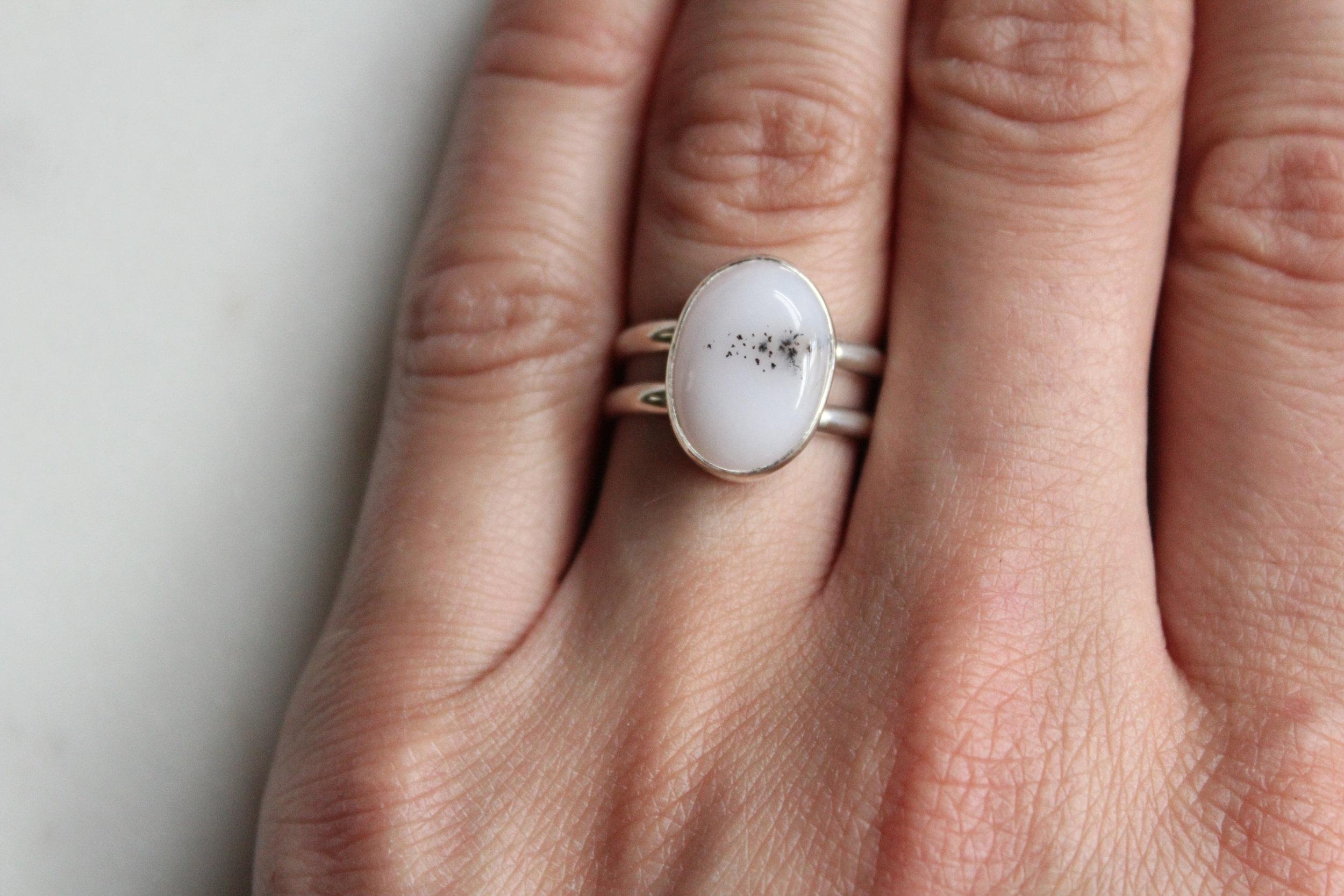 Dendritic Opal Spiral Ring
