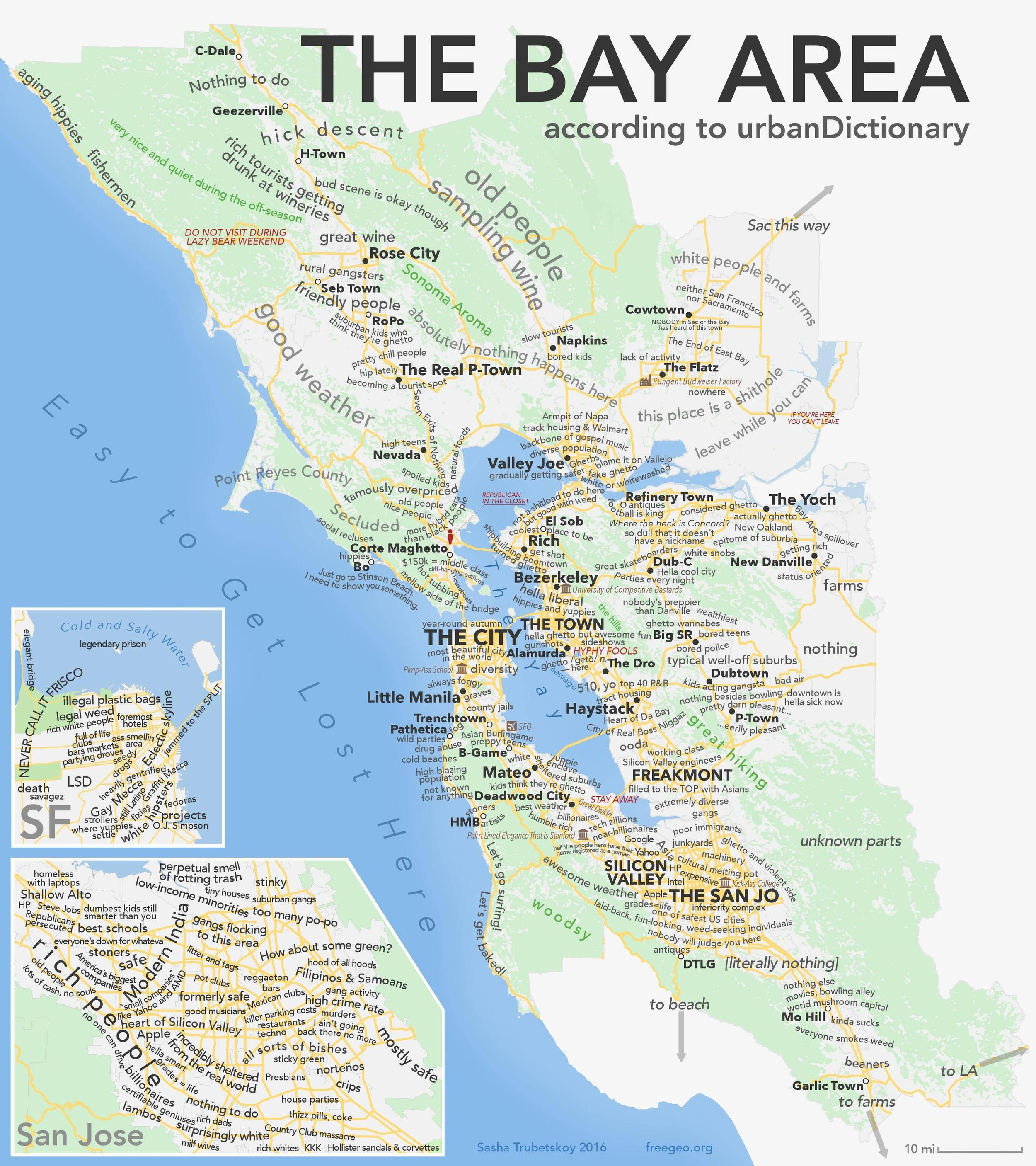 The Bay Area Map (Urban Dictionary Style) — PETE ALEXANDER