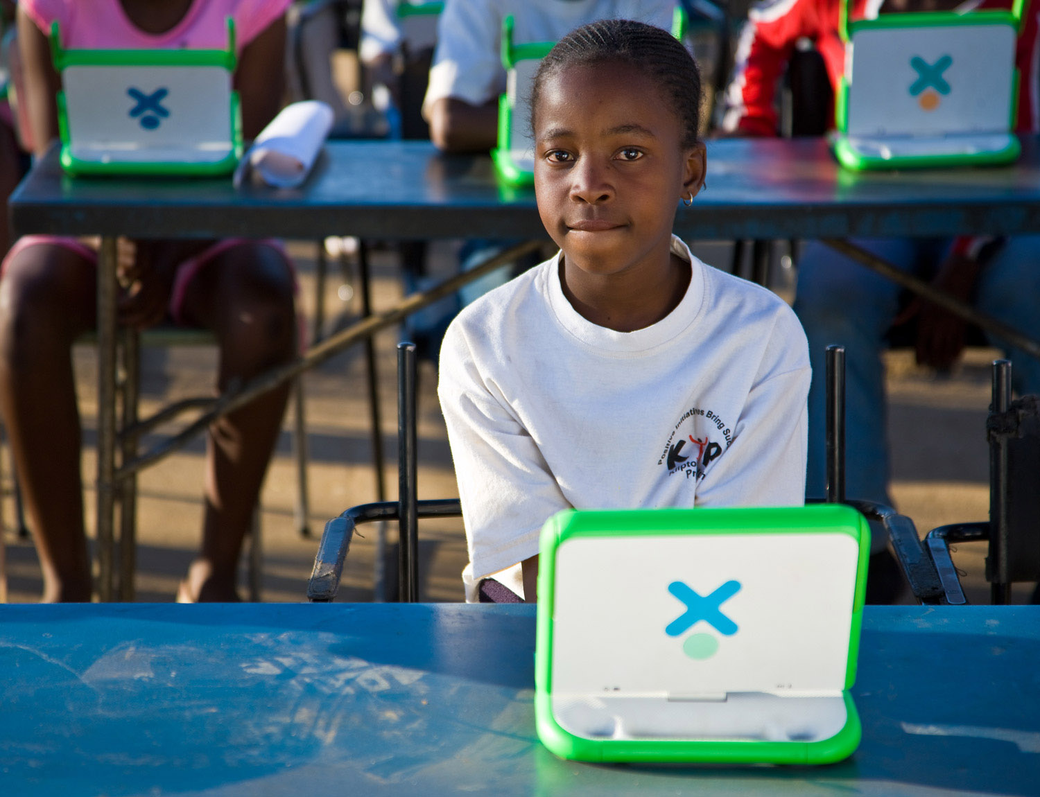 Student with OLPC Laptop