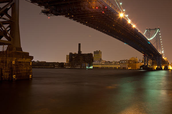 Domino Factory framed by the Williamsburg Bridge from the Manahattan side. ©2010 harlan erskine