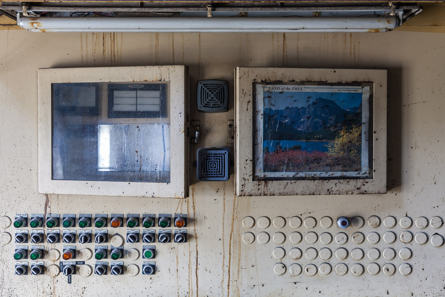 "Control Panels with ""Land of the Free"" Poster, Pan House, Refinery Building, Domino Sugar Factory"