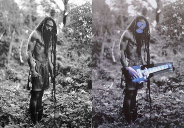 "Patrick Cariou, Yes Rats, 2000. Cariou v Prince: Left, a photo of a Rastafarian from Patrick Cariou's ""Yes, Rasta"" and, right, a painting from Prince's Canal Zone series."