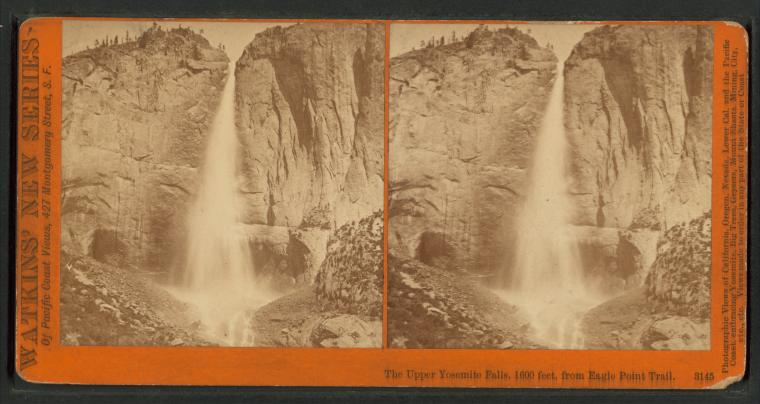 Carleton Watkins ,  NYPL: Image ID:  G89F391_216F    The Upper Yosemite Falls, 1600 feet, from Eagle Point Trail.  [Watkins' New Series, no.3145.] (1879-1890)