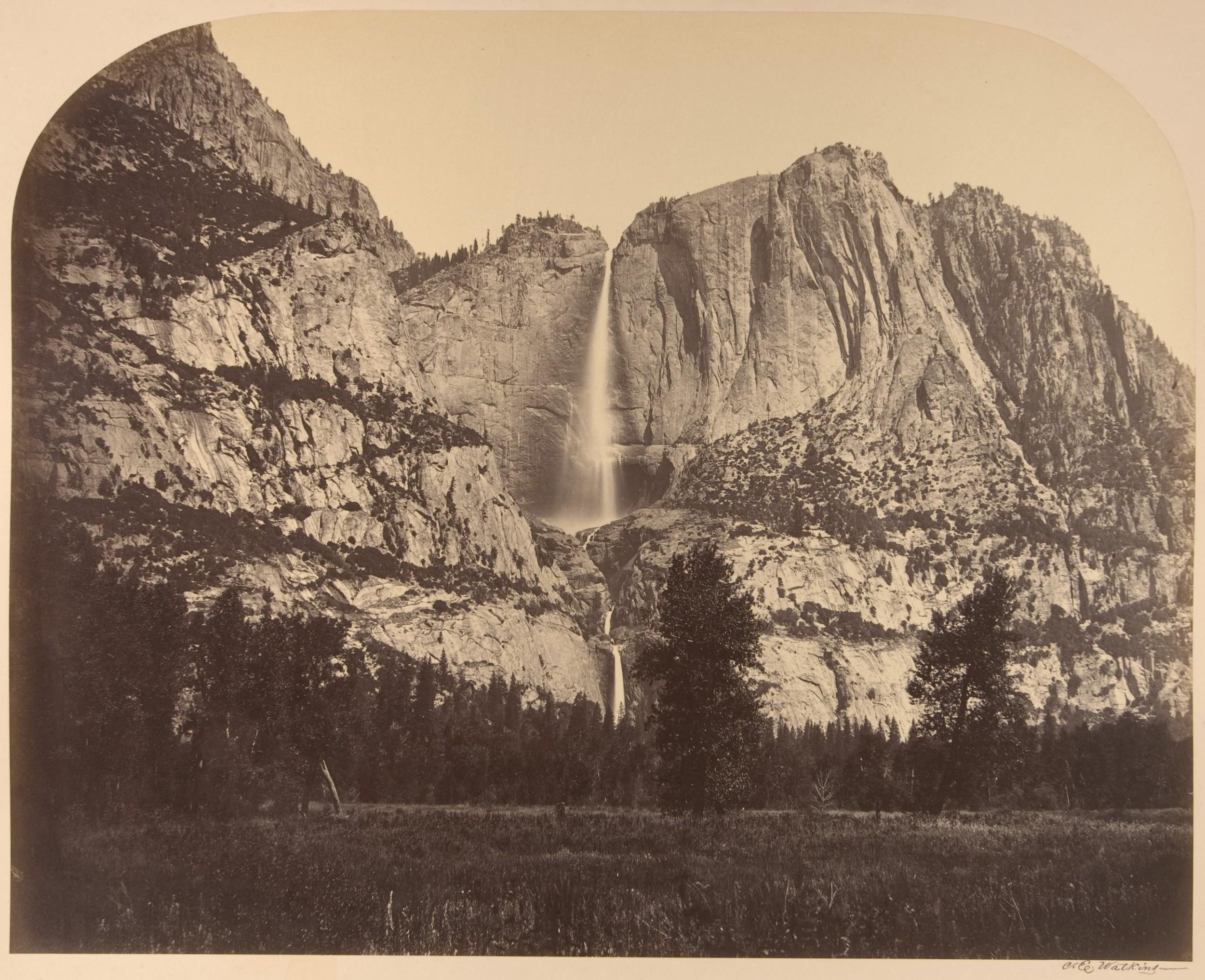 Yosemite Falls, photographed by Carleton E. Watkins, 1861.