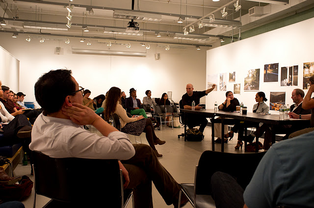 A recent critique at the  Yale School of Art's Photography Department . The panel:  John Pilson  making a point on the left,  Lisa Kereszi ,  Shirin Neshat  and  Richard Prince . Image  from this post  by Photographer  Davin Ellicson .