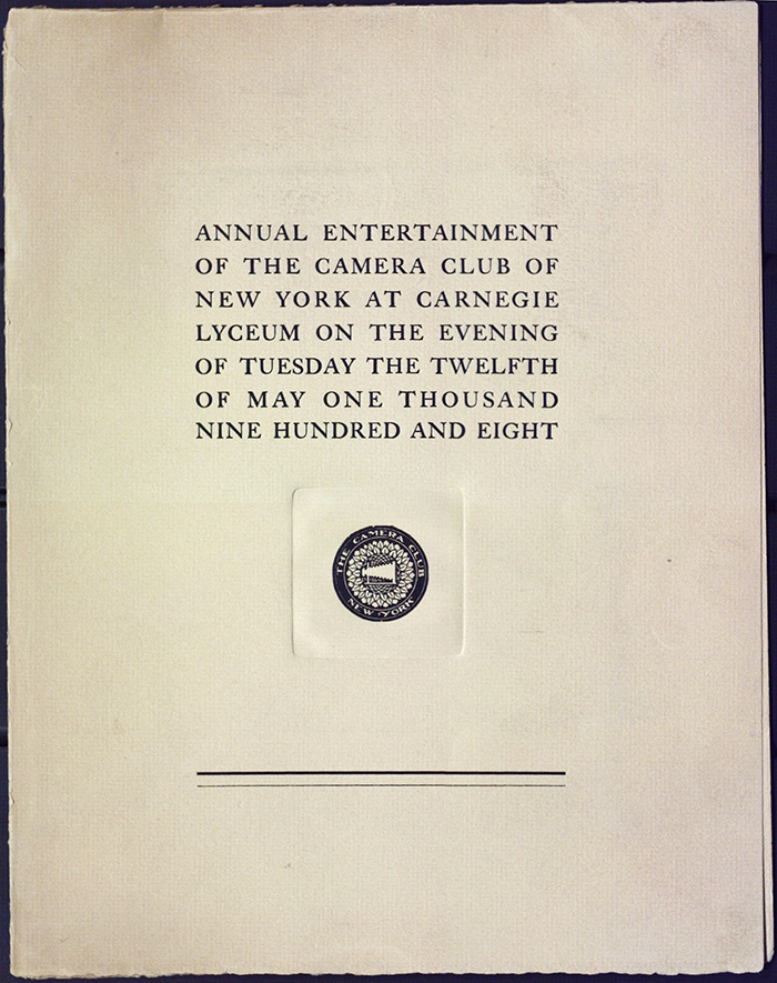 Annual Entertainment program for the Camera Club of New York at the Carnegie Lyceum. May 25, 1908. Cover.*