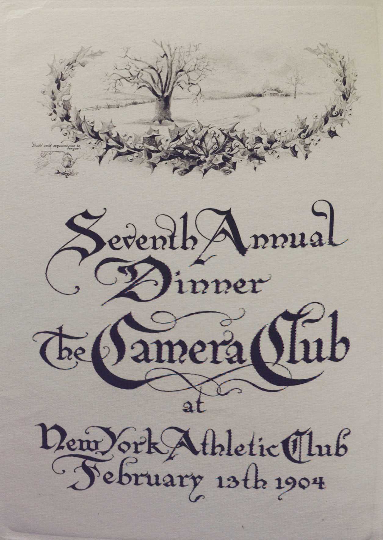 The Seventh Annual Dinner, The Camera Club. Inside menu left page.*