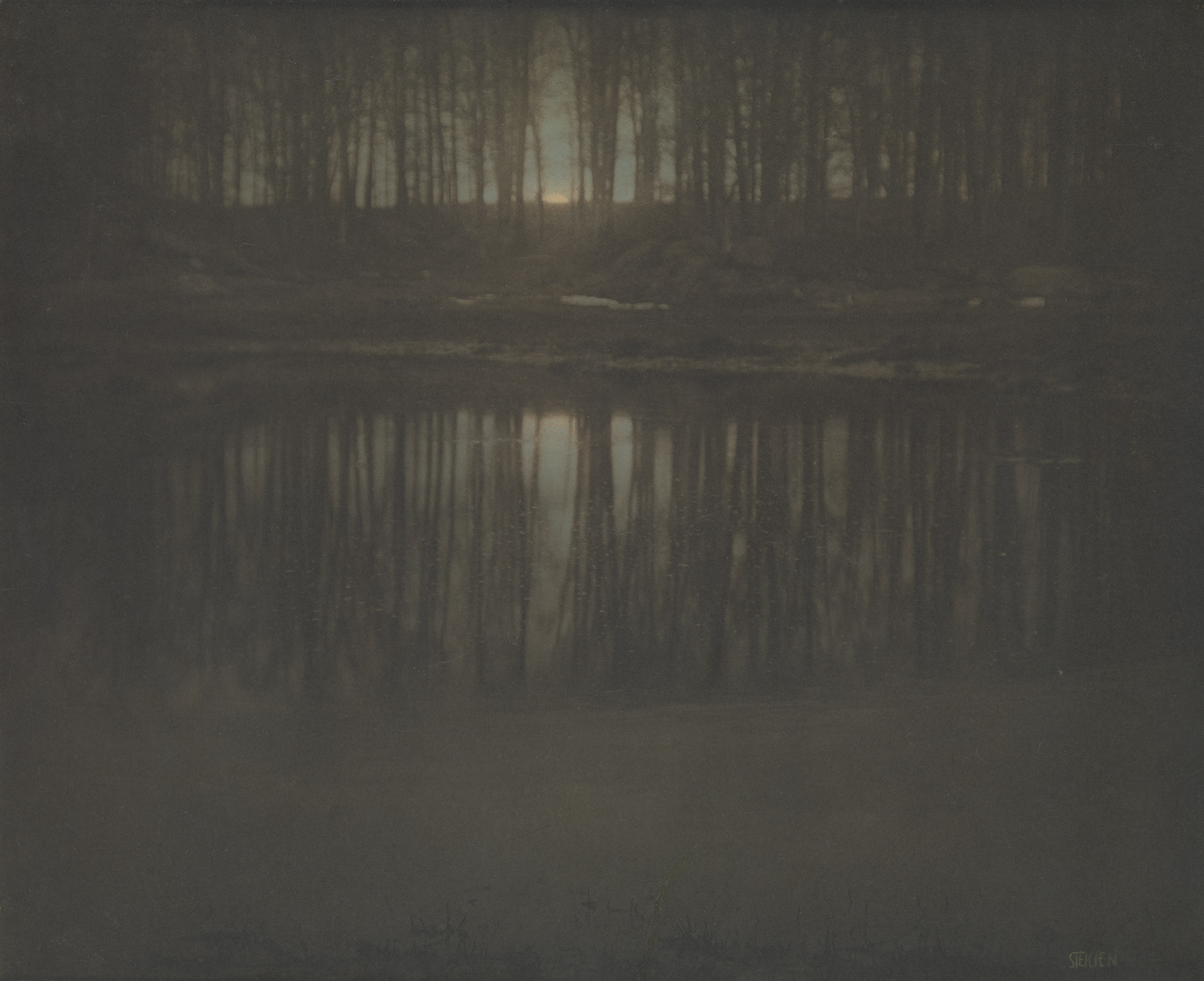 "Edward J. Steichen, ""The Pond—Moonrise,"" 1904 Platinum print with applied color.  The Metropolitan Museum of Art, 33.43.40"