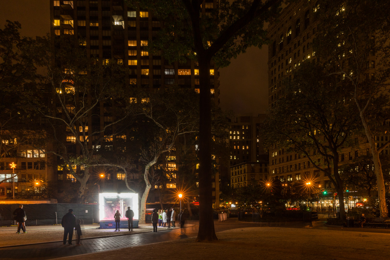 YouTube/ SciShow energy demonstration lights up Madison Square Park. The Flatiron Building is on the right.