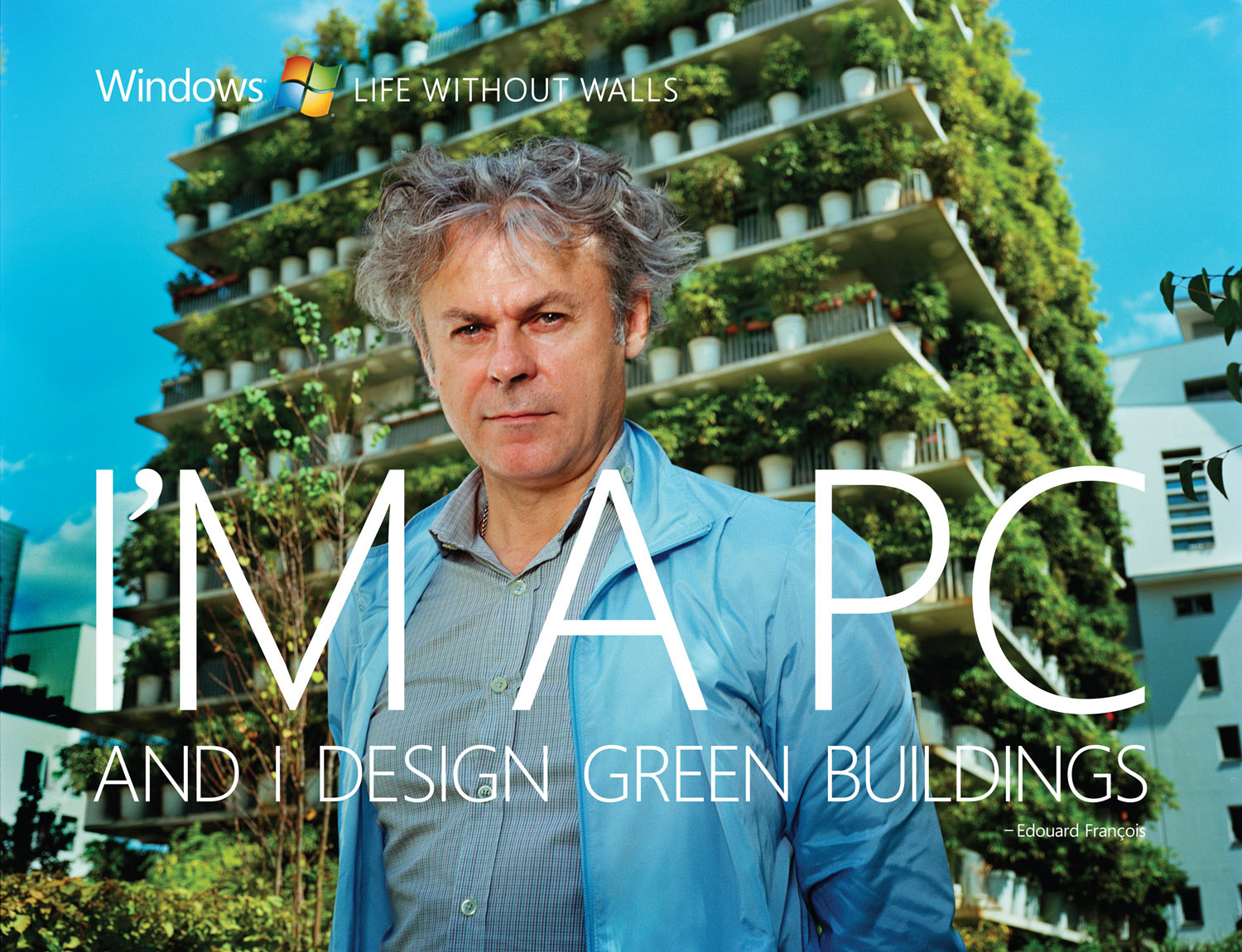Microsoft, I'm a PC and I design green buildings. - Edouard François , © harlan erskine