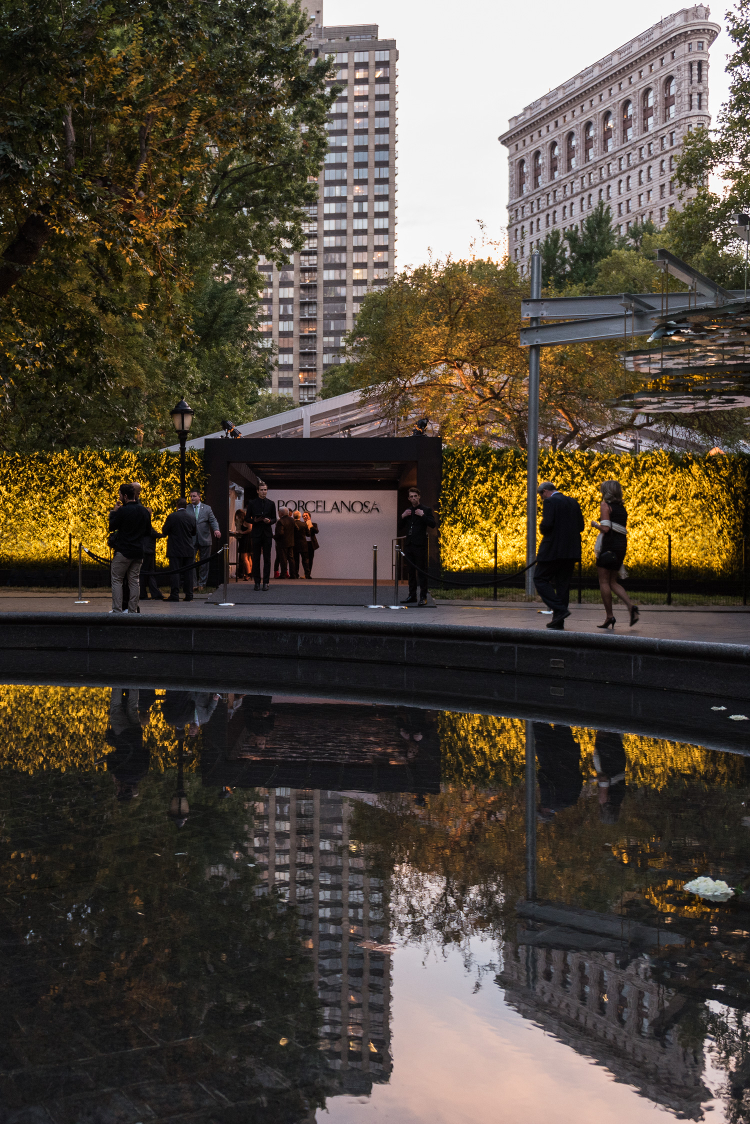 Porcelanosa NYC Opening Event, Madison Square Park main entrance looking South toward the Flat Iron Building. © harlan erskine 2015.