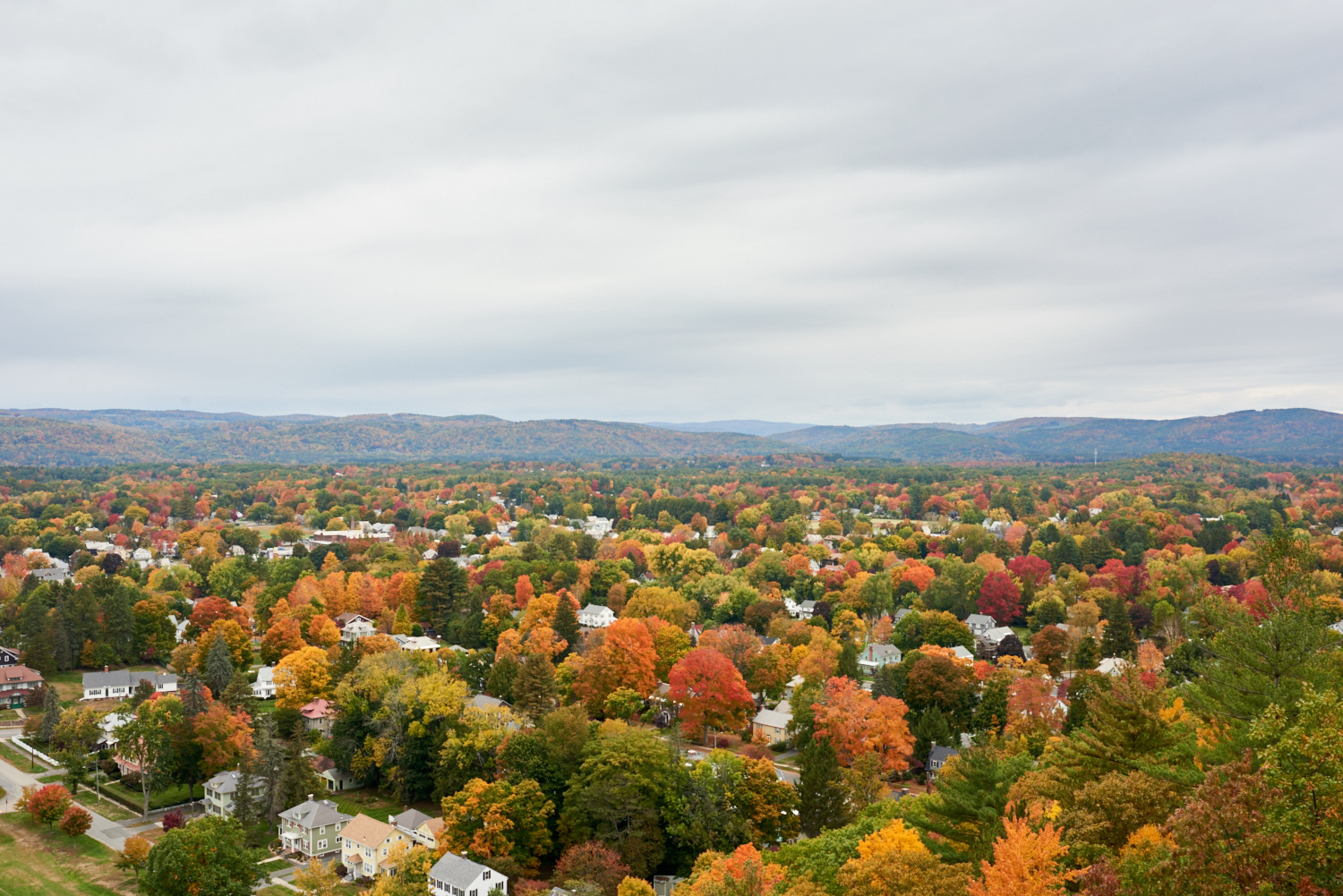 Fall colors over Greenfield, MA. © 2016 harlan erskine.